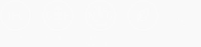 Gluten Free Non-GMO No THC Organic Symbols