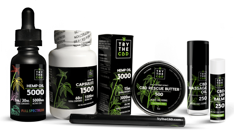 TryTheCBD CBD products, CBD Oils, Capsules, Full Spectrum Tinctures, CBD Balms, CBD Rescue Butters, Massage Oils