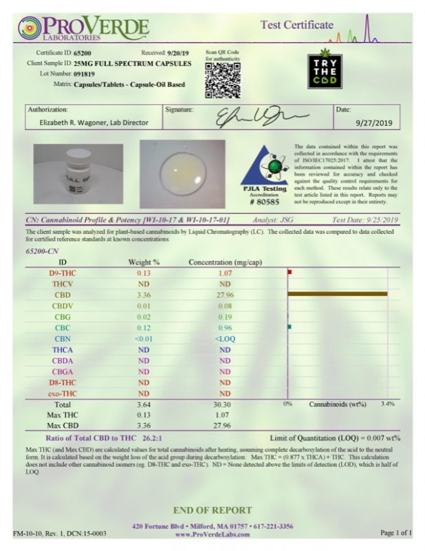 full spectrum cbd oil capsules third party lab results