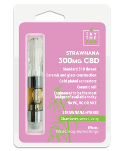 300mg Strawnana CBD Vape Pen Cartridge - Pre-filled with pure CBD oil and Strawnana terps