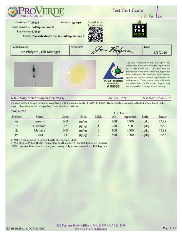 Third Party Lab Results for Heavy Metals Lot 070920
