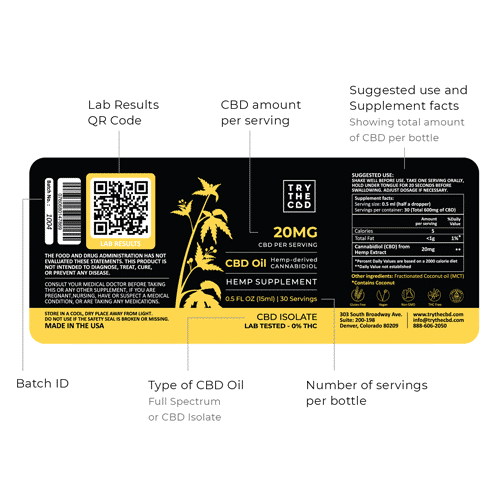 THC Free CBD Oil 600mg - Label