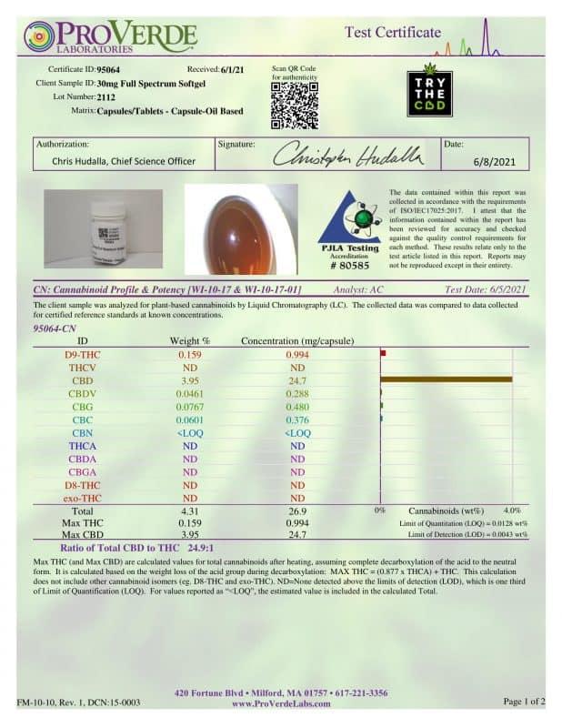 Full-spectrum 30mg CBD Softgels Third-party lab Test certificate