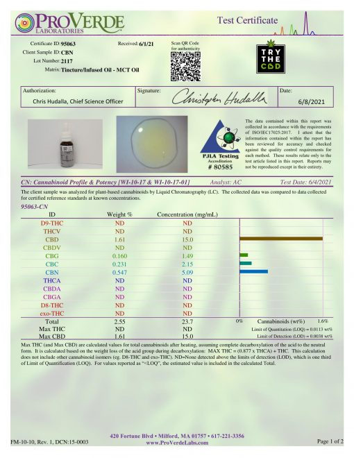 Batch #2118 Extra Strength CBN oil Third-party lab Test certificate